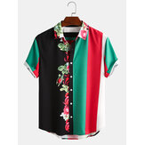 Homens Blossom Colorful Stripe Mixed Mixed Estampa Manga Curta Camisas Casual de Natal