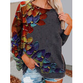 Women Colorful Flower Print Long Sleeves O-Neck Casual Sweatshirt