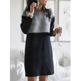 Women Color Block Long Sleeve Casual Sweater Dresses