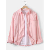 Mens Solid Color Cotton Button Up Lapel Regular Fit Long Sleeve Shirts With Flap Pocket