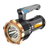 Lanterna portátil XANES® 1200LM 500M LED + COB Type-C Fonte de luz tripla recarregável USB Holofote LED à prova d'água Holofote forte