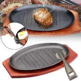 3 maten gietijzeren steak Fajita Sizzling Platter Plate BBQ Grill Pan Cooking Wooden Holder