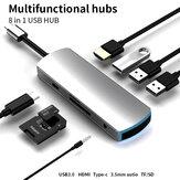 Adaptateur de station d'accueil Bakeey 8 en 1 USB-C Hub avec lampe d'ambiance avec 3 * USB 3.0 / Type-C PD / HDMI 4K HD Display / 3.5mm Autio / Lecteurs de carte mémoire