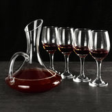 1700ML Crystal Glass Decanter and 4 Cups Elegant Pourer Carafe Lead-Free Gift Table Aerator Carafe