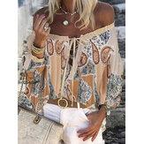 Женщины Богемия печати с плеча с длинным рукавом повседневная свободная блузка
