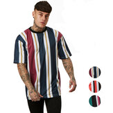 Hip Hop Fashion Men's T-Shirts Loose Stripes Printing Short Sleeve Breathable Comfortable Sports Hiking Tee
