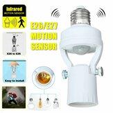 Luz infravermelha de movimento 110-240V Sensor Interruptor de base da lâmpada bulbo inteligente E26/E27