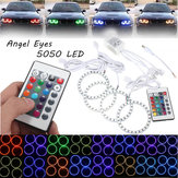 4PCS RGB 80MM Multi-Color 5050 Flash LED SMD 12V Angel Eyes and Remote Control