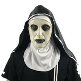 Halloween Scared Female Ghost Headgear Nun Horror Valak Scary Latex Mascara Accesorios para trucos de fiesta con pañuelo en la cabeza