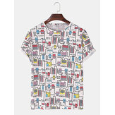 Mens Funny Digital Product Print Casual Crew Neck Short Sleeve T-Shirts