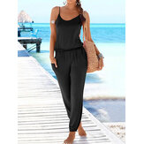 Solid Color Sleeveless Elastic Wasit Loose Casual Side Pocket Jumpsuits