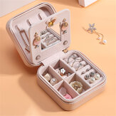 Portable Travel Women Jewelry Box Ornaments Storage Case PU Earring Organizer