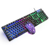 T11 Wired 104 Keys Mechanical Keyboard & Mouse Set Luminous Waterproof Gaming Keyboard Ergonomic Mouse