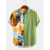 Banggood Design Men Tropical Leaf Colorful Camicie casual per le vacanze a maniche corte con stampa mista a strisce