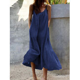 Sleeveless Straps Side Pocket Loose Solid Color Casual Maxi Dress