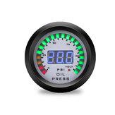 52 milímetros carro Óleo manômetro 7 cores LED display duplo medidor de impulso