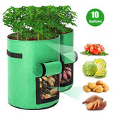 10/7 Gallon Potato Plant Grow Bags Double Door Pot Nonwoven Breathable Cloth Bags for Potato/Plant Indoor Outdoor Seedling Bags