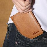 Męski skórzany portfel w stylu vintage, wąski portfel na pieniądze z 11 miejscami na karty