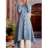 Women Solid Button Front Long Sleeve High Low Tunic Kaftan Blouses