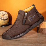 Men Corduroy Hand Stitching Leather Casual Ankle Boots