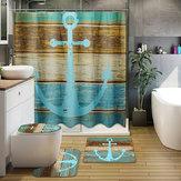 3 Unids Retro Estilo Antiguo Ancla Antideslizante Cuarto de baño Alfombra Cubierta de Asiento de Inodoro Estera de Baño Conjunto Creativo