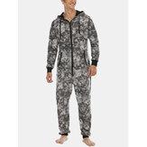 Mens Tie Dye Hooded Jumpsuits Home Fleece Plush Sleepwear With Pocket