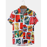 Mens Colorful Can Letter Print Light Casual Camicie maniche corte con tasca