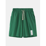 Mens Solid Color Label Drawstring Pocket Hawaii Beach Board Shorts