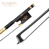 NAOMI Advanced 4/4 Violin Bow Golden Silk Braided Carbon Fiber Bow Black Horsehair Round Stick