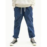 Erkek Kadife Düz Renk İpli Esneklik Kiriş Ayakları Pantolon Poket ile