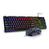 Conjunto de teclado e mouse com fio de 104 USB para jogos à prova d'água silencioso / som de mudança de luz de fundo para notebook