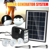 Solar Panel Generator System Portable Home Kit with 3PCS 3W LED Light Bulb USB Charger Camping Lamp