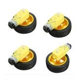 4Pcs 65 x 26mm Plastic Tire Wheel + DC 3-6v Gear Motor For  Smart Car