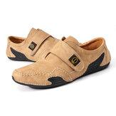 Mocassins en cuir causaux pour hommes chaussures de marche à enfiler en plein air appartements respirants chaussures de bateau antidérapantes de loisirs