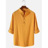Camisas henley simples de manga larga de algodón y lino para hombre