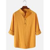 Camicie da sera semplici da uomo in cotone e lino a maniche lunghe