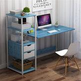 Computador Laptop Mesa Escrita Mesa de Estudo Estante de Trabalho Área de Trabalho com Prateleiras de Armazenamento e 2 Gavetas Móveis para Escritório em Casa