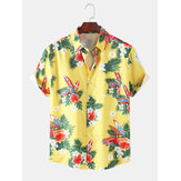Mens Designer Cartoon Car Floral Print Hawaii Holiday Chemises à manches courtes
