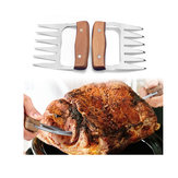 2pcs Bear Claws Meat Divider Meat Shredding Claws Torining Pork Tools Stainless Steel BBQ Forks With Wooden Handle Meat Chopper