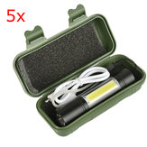 5pcs XANES 1518 XPE+COB 2Lights 1000Lumens 3Modes USB Rechargeable Brightness EDC LED Flashlight Suit