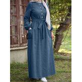 Dames Plain Button Front Lace-Up elastische manchet Vintage lange mouw maxi-jurk met zak