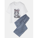 Women Cute Cat Print Pajamas Set Two Pieces Comfy Sleepwear With Long Plaid Pants