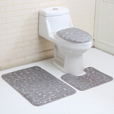 3PCS Toilet Seat Covers Bathroom Carpet Non-Slip Pedestal Rug + Lid Toilet Cover + Bath Mat Set