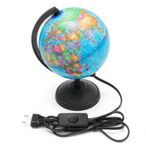 World Earth Globe Atlas Kort Geografi Uddannelse Gave m / roterende stativ LED-lys
