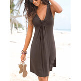 Solid Casual Sleeveless V-neck Knotted Tropical Plants Hawaii Style Holiday Mini Short Dress