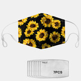 PM2.5 7-piece Gasket Daisy Gasket Sunflower Print Anti-fog Dust-proof Masks