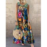 Women Retro O-neck Floral Print Sleeveless Maxi Dress