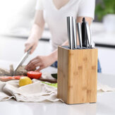 KITCHENDAO Eco-Friendly Bamboo Kitchen Knife Holder Scissors Sharpening Rod Space Saver Knife Drier Storage Tool with Drain Holes