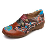 SOCOFY Folkways Retro Pattern Genuine Leather Splicing Comfy Soft Side Zipper Flat Shoes