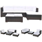 KCASA 5pcs Modern Design Rattan Wicker Sofa Household Rest Garden Outdoor/Living Room Furniture Sofas